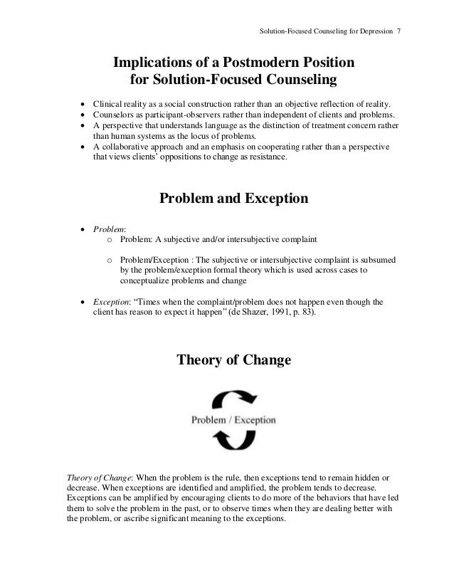 Solutionfocused Counseling for Depression – Reality Therapy Worksheets