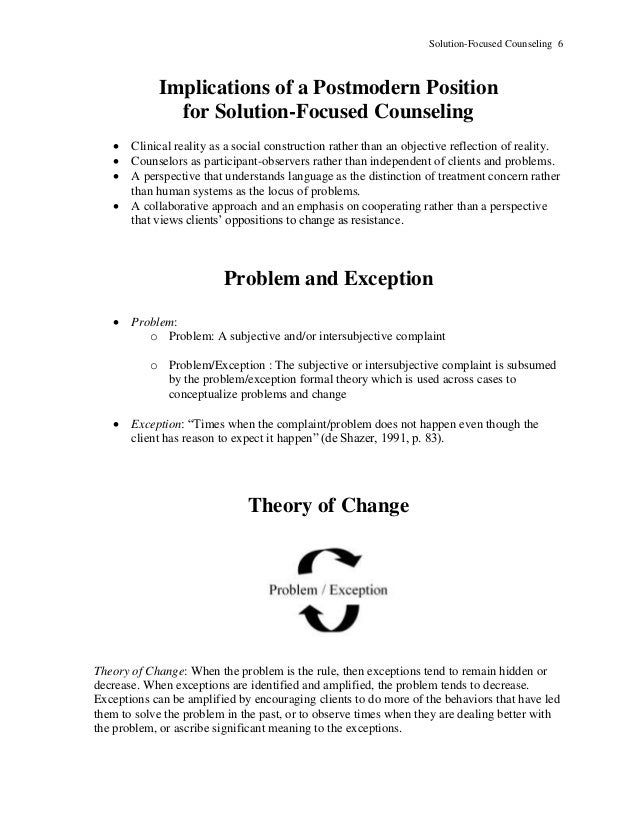 Solution-Focused Counseling 6 Implications of a Postmodern Position for Solution-Focused Counseling  Clinical reality as ...
