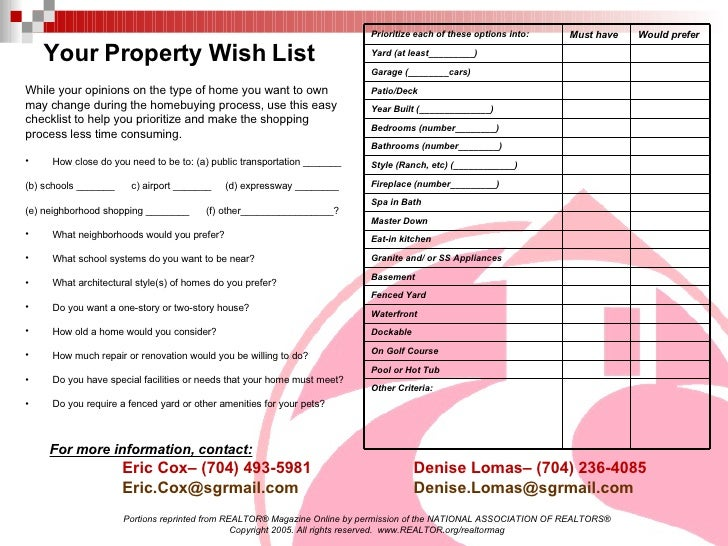 Handouts for home buyers for Home wish list