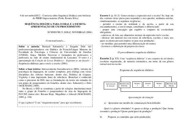 1 8 de novembro/2012 – Conversa sobre Sequência Didática com bolsistas         Excerto 1 (p. 81-2): Como ensinar a express...
