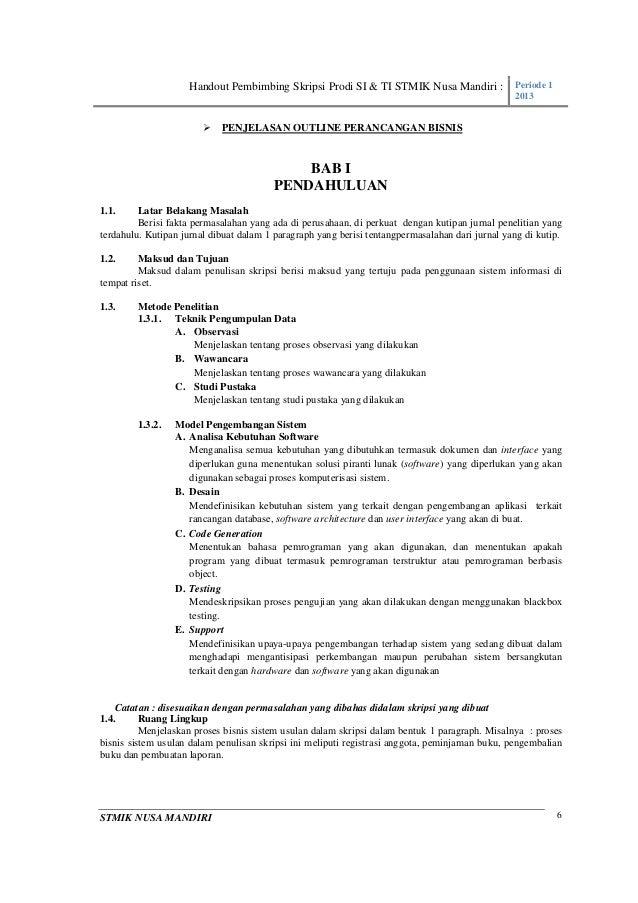 Handout Skripsi Prodi Si Ti Stmik Nuri Periode 1 2013