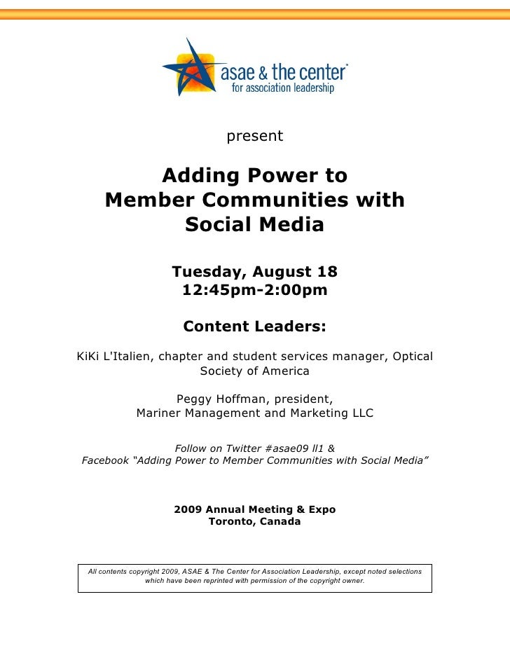 present          Adding Power to      Member Communities with           Social Media                           Tuesday, Au...