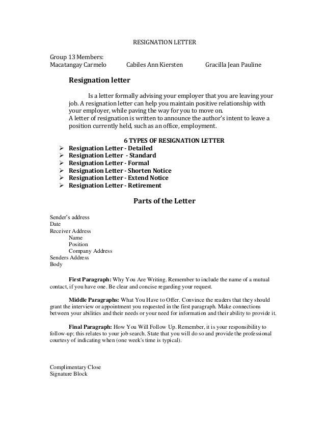RESIGNATION LETTER Group 13 Members: Macatangay Carmelo Cabiles Ann  Kiersten Gracilla Jean Pauline Resignation Letter ...