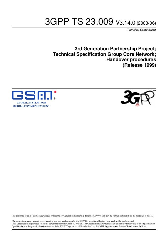 3GPP TS 23.009 V3.14.0 (2003-06) Technical Specification  3rd Generation Partnership Project; Technical Specification Grou...