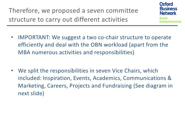 Therefore, we proposed a seven committeestructure to carry out different activities• IMPORTANT: We suggest a two co-chair ...