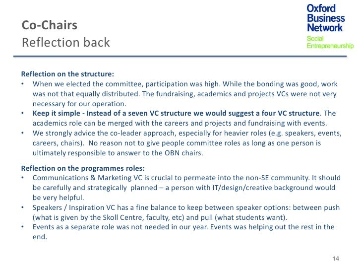 Co-ChairsReflection backReflection on the structure:• When we elected the committee, participation was high. While the bon...