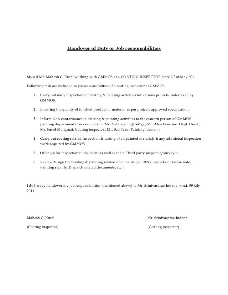 letter of responsibility template