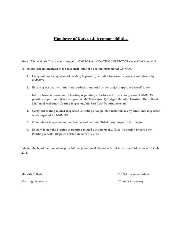 letter of turnover of work - Hizir kaptanband co