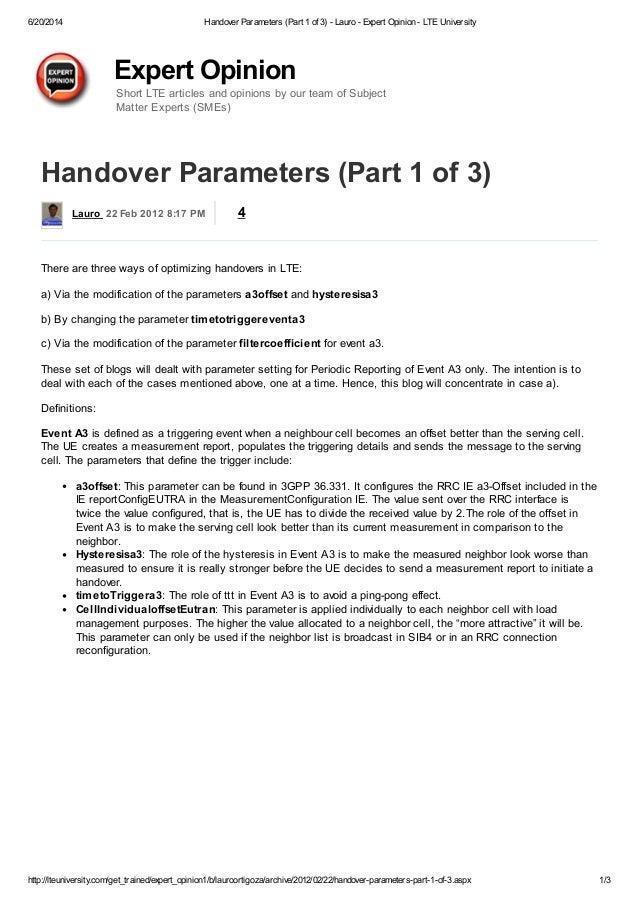 handover parameters  part 1 of 3  lauro