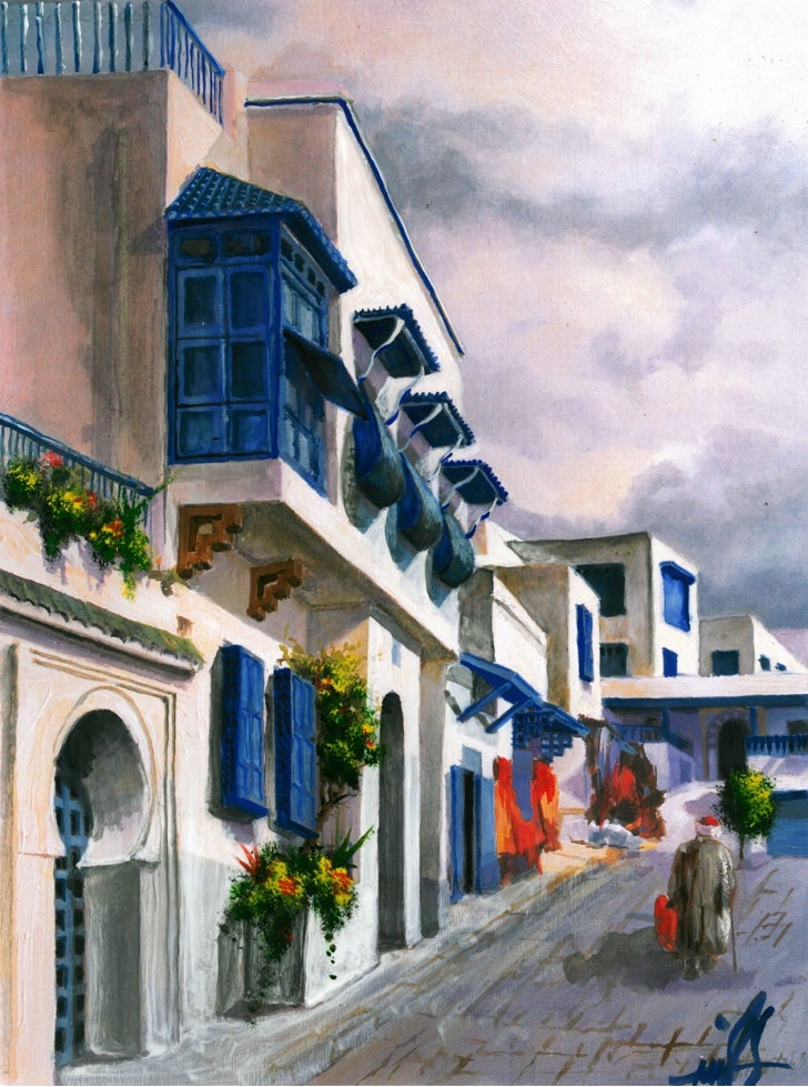 Hand Paint Water Color Tunis 002