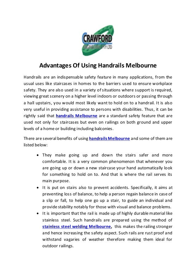 Advantages Of Using Handrails Melbourne Handrails are an indispensable safety feature in many applications, from the usual...