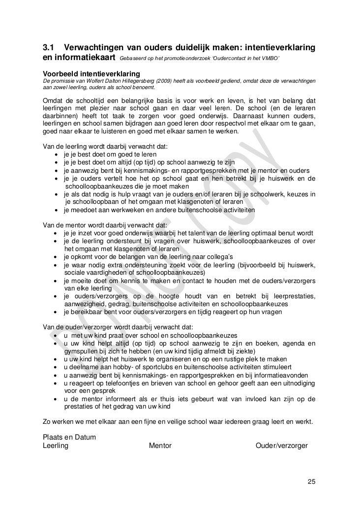 Handreiking Oudercontact In Het Vmbo Testversie , Januari 2011