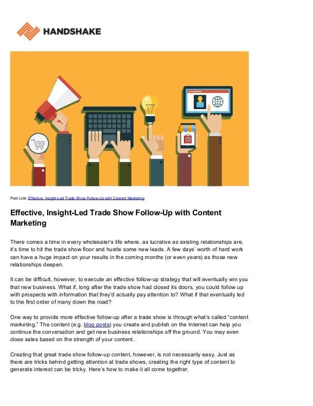 Post Link: Effective, Insight-Led Trade Show Follow-Up with Content Marketing Effective, Insight-Led Trade Show Follow-Up ...