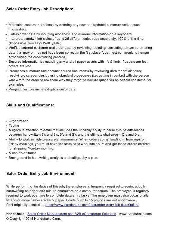 Order Entry Job Description Sample for Businesses