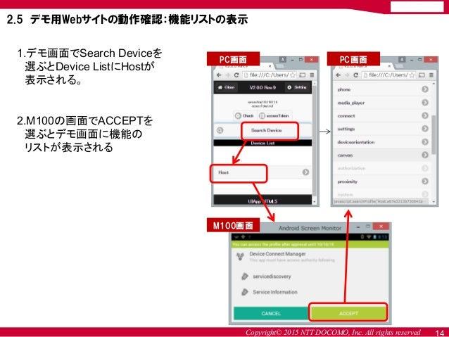 Copyright© 2015 NTT DOCOMO, Inc. All rights reserved 2.5 デモ用Webサイトの動作確認:機能リストの表示 1.デモ画面でSearch Deviceを 選ぶとDevice ListにHost...