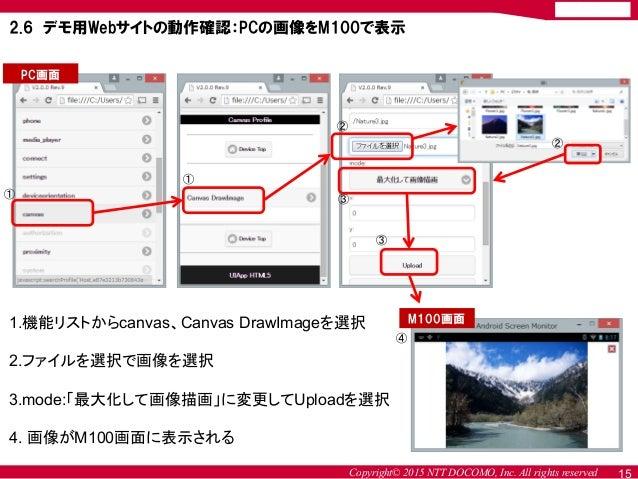 Copyright© 2015 NTT DOCOMO, Inc. All rights reserved 15 2.6 デモ用Webサイトの動作確認:PCの画像をM100で表示 PC画面 M100画面1.機能リストからcanvas、Canvas...