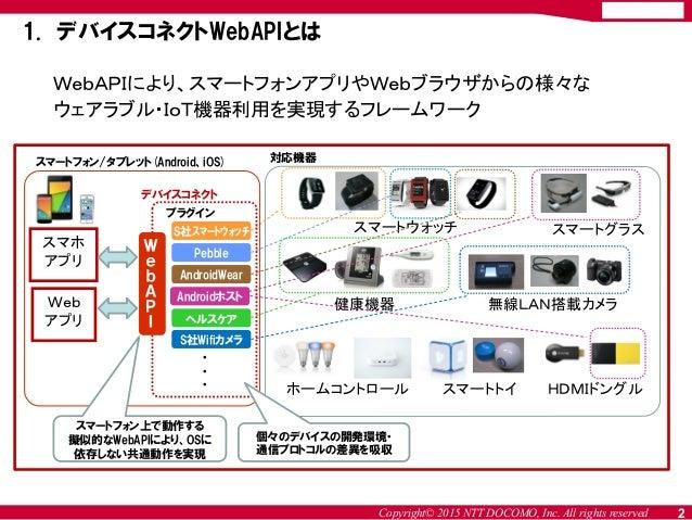 Copyright© 2015 NTT DOCOMO, Inc. All rights reserved WebAPIにより、スマートフォンアプリやWebブラウザからの様々な ウェアラブル・IoT機器利用を実現するフレームワーク 1. デバイス...