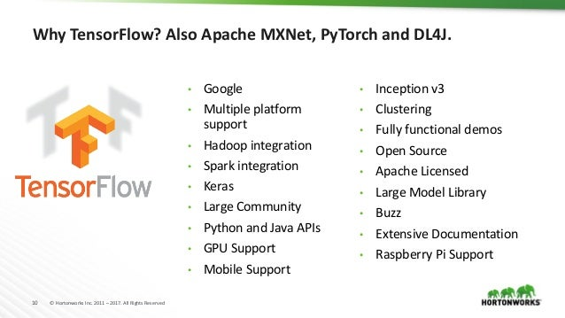 10 © Hortonworks Inc. 2011 – 2017. All Rights Reserved Why TensorFlow? Also Apache MXNet, PyTorch and DL4J. • Google • Mul...