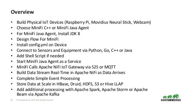22 © Hortonworks Inc. 2011–2018. All rights reserved. Overview • Build Physical IoT Devices (Raspberry Pi, Movidius Neural...