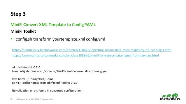 29 © Hortonworks Inc. 2011–2018. All rights reserved. MiniFi Toolkit • config.sh transform yourtemplate.xml config.yml Min...