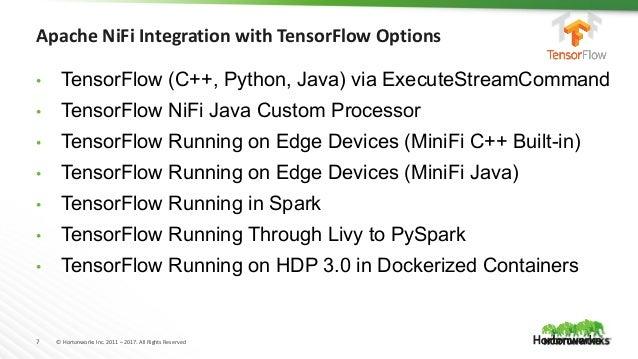 7 © Hortonworks Inc. 2011 – 2017. All Rights Reserved • TensorFlow (C++, Python, Java) via ExecuteStreamCommand • TensorFl...