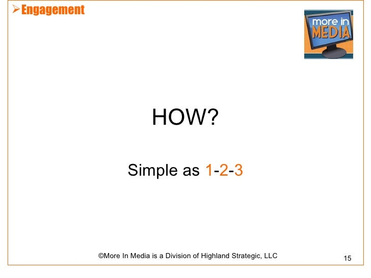 Engagement                              HOW?                      Simple as 1-2-3              ©More In Media is a Divisi...