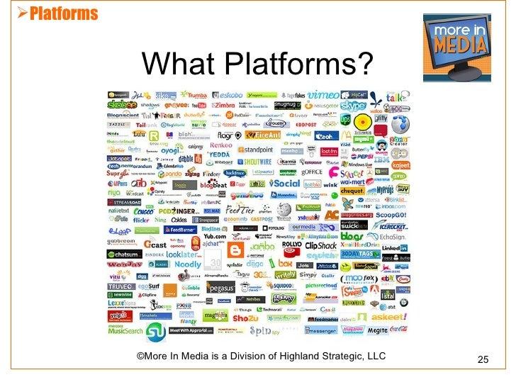 Platforms             What Platforms?             ©More In Media is a Division of Highland Strategic, LLC   25
