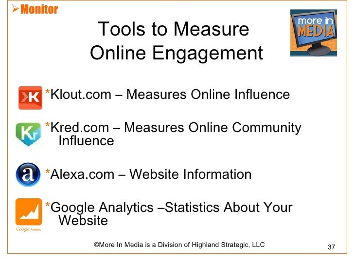 Monitor             Tools to Measure            Online Engagement     *Klout.com – Measures Online Influence     *Kred.co...