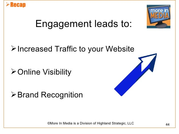 Recap         Engagement leads to:  Increased Traffic to your Website  Online Visibility  Brand Recognition           ...
