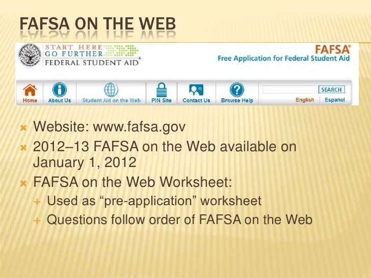 Hands on fafsa training for guidance counselors – Fafsa on the Web Worksheet