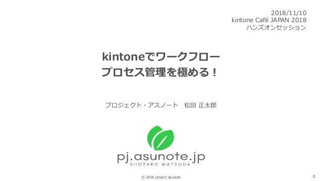 0© 2018 project asunote kintoneでワークフロー プロセス管理を極める! 2018/11/10 kintone Café JAPAN 2018 ハンズオンセッション プロジェクト・アスノート 松田 正太郎