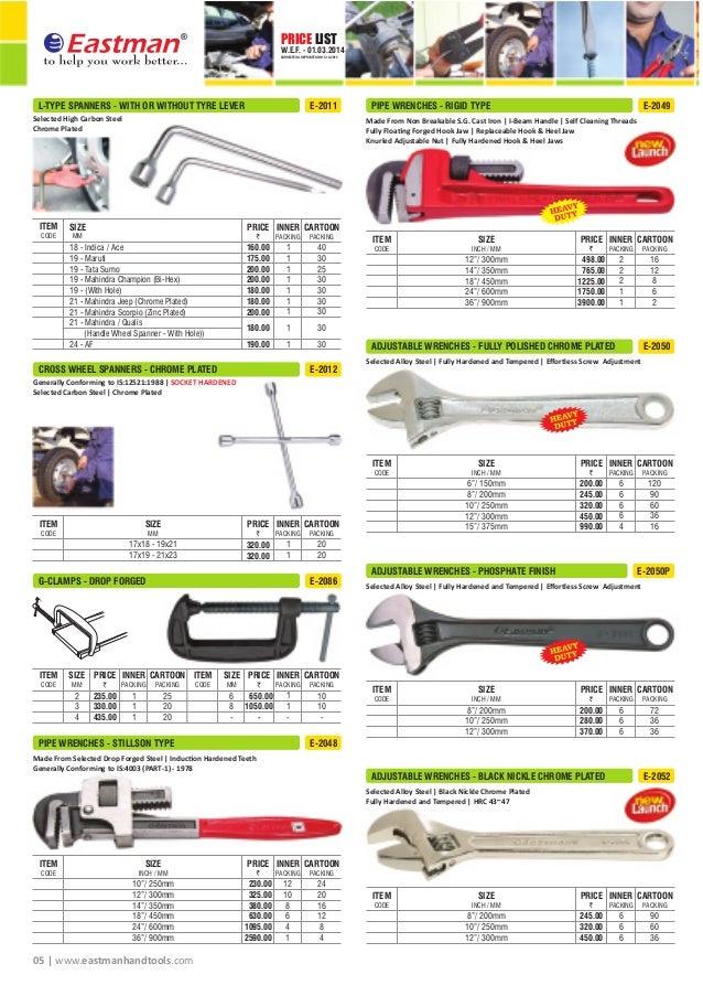 Eastman Hand Tools Price List 2015