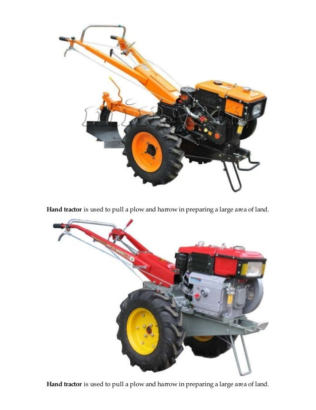 Hand tractor is used to pull a plow and harrow in preparing a large area of land.  Hand tractor is used to pull a plow and...