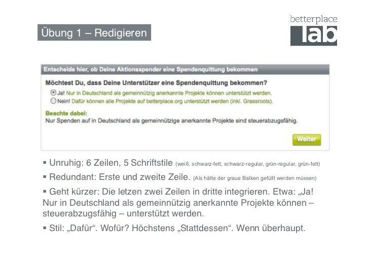 Übung 1 – Redigieren! Unruhig: 6 Zeilen, 5 Schriftstile (weiß, schwarz-fett, schwarz-regular, grün-regular, grün-fett)!...