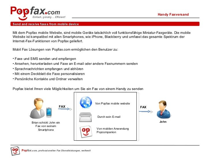 Send and receive faxes from mobile device <ul><li>Mit dem Popfax mobile Website, sind mobile Geräte tatsächlich voll funkt...