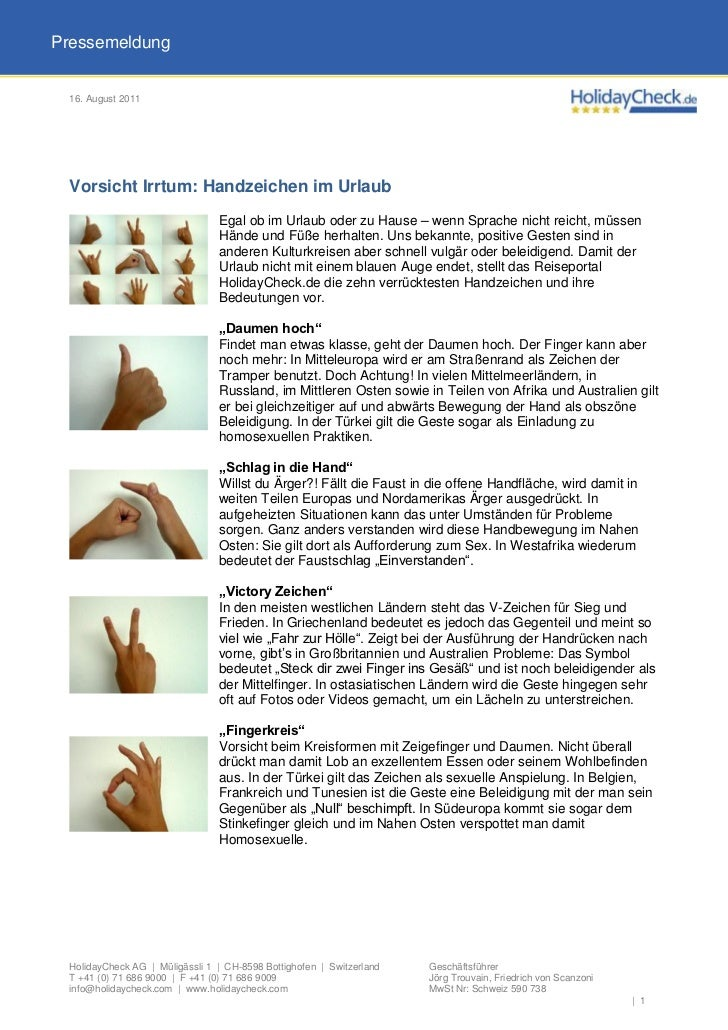 Pressemeldung 16. August 2011 Vorsicht Irrtum: Handzeichen im Urlaub                                Egal ob im Urlaub oder...