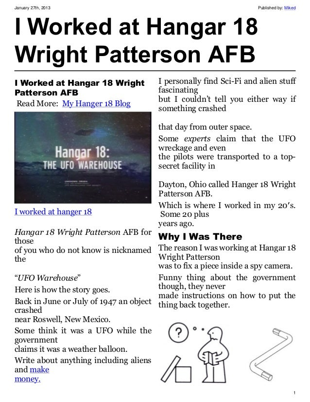 January 27th, 2013                                                 Published by: MikedI Worked at Hangar 18Wright Patterso...