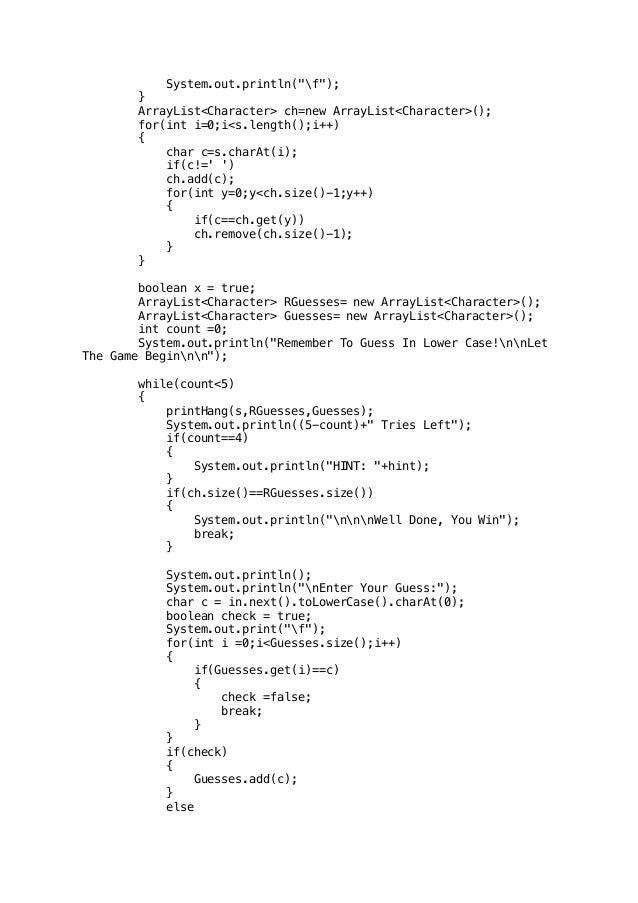 Hangman (Java Program written on Blue J Editor)