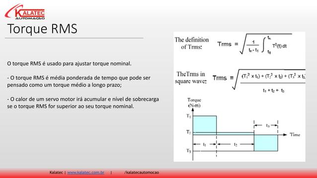 Torque RMS Kalatec   www.kalatec.com.br   /kalatecautomocao O torque RMS é usado para ajustar torque nominal. - O torque R...