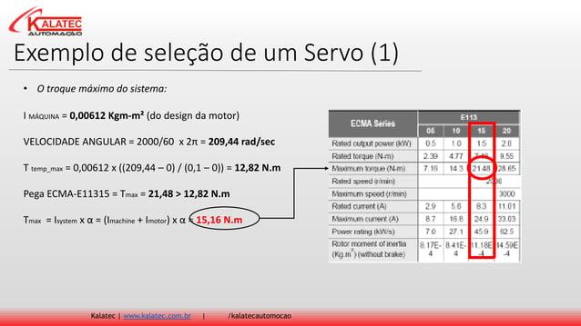Exemplo de seleção de um Servo (1) Kalatec   www.kalatec.com.br   /kalatecautomocao I MÁQUINA = 0,00612 Kgm-m² (do design ...