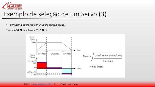 Exemplo de seleção de um Servo (3) Kalatec   www.kalatec.com.br   /kalatecautomocao Trms = 4,57 N.m < Trated = 7,16 N.m • ...