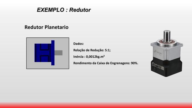 EXEMPLO : Redutor Redutor Planetario Dados: Relação de Redução: 5:1; Inércia : 0,0012kg.m² Rendimento da Caixa de Engrenag...
