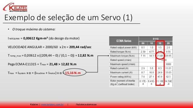 Exemplo de seleção de um Servo (1) Kalatec | www.kalatec.com.br | /kalatecautomocao I MÁQUINA = 0,00612 Kgm-m² (do design ...