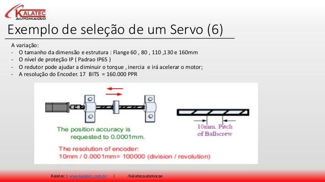 Exemplo de seleção de um Servo (6) Kalatec | www.kalatec.com.br | /kalatecautomocao A variação: - O tamanho da dimensão e ...