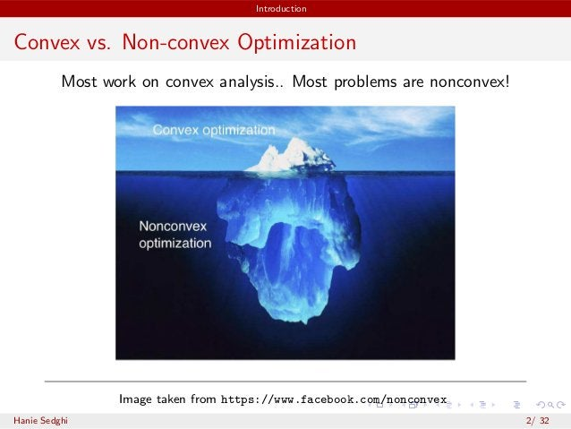 Introduction Convex vs. Non-convex Optimization Most work on convex analysis.. Most problems are nonconvex! Image taken fr...
