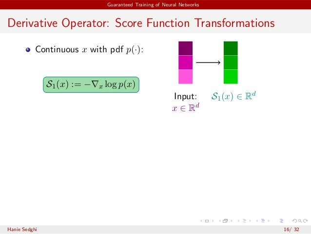 Guaranteed Training of Neural Networks Derivative Operator: Score Function Transformations Continuous x with pdf p(·): S1(...