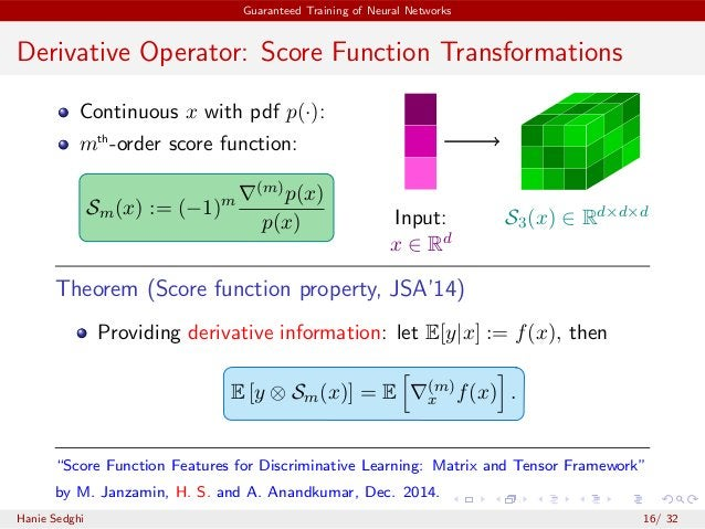 Guaranteed Training of Neural Networks Derivative Operator: Score Function Transformations Continuous x with pdf p(·): mth...