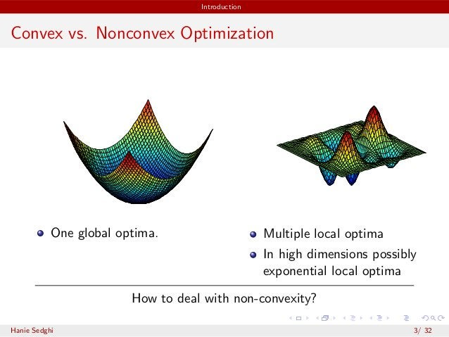 Introduction Convex vs. Nonconvex Optimization One global optima. Multiple local optima In high dimensions possibly expone...