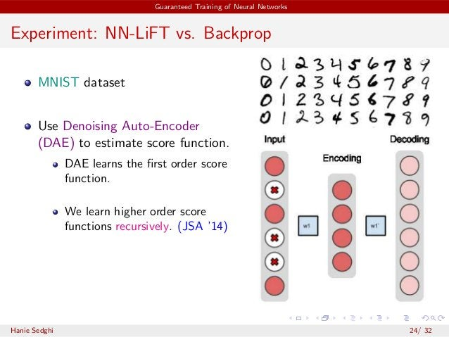 Guaranteed Training of Neural Networks Experiment: NN-LiFT vs. Backprop MNIST dataset Use Denoising Auto-Encoder (DAE) to ...