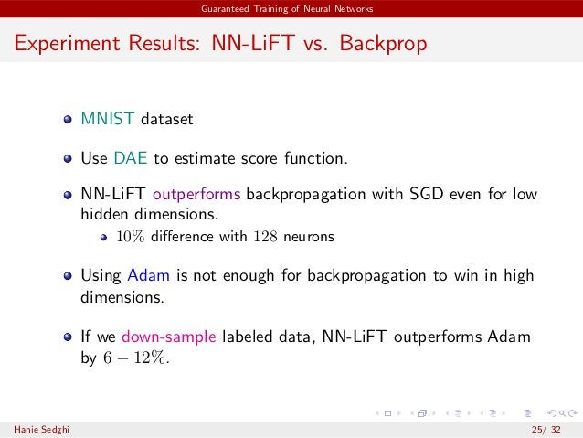 Guaranteed Training of Neural Networks Experiment Results: NN-LiFT vs. Backprop MNIST dataset Use DAE to estimate score fu...